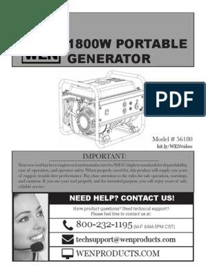 Wen 1800w Portable Generator | Gasoline | Electric Power