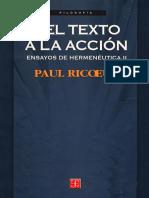 Paul Ricoeur. Del Texto a La Accion