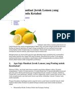 Beberapa Manfaat Jeruk Lemon Yang Sebaiknya Anda Ketahui