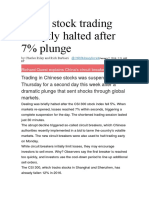 China Stock Trading Abruptly Halted After 7