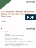 International Tax and Vat Developments Luxembourg 2014