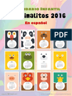 Calendario Infantil Big Animalitos 2016 en Español Por JPR504