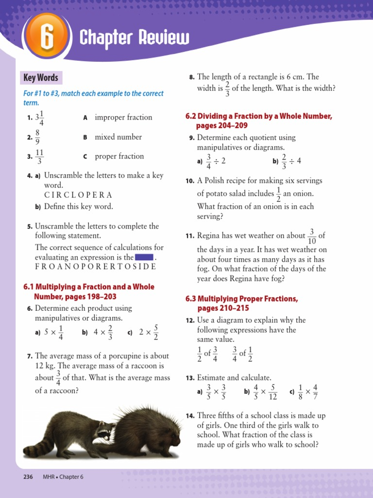 Chapter 6 Review Fraction Mathematics Numbers