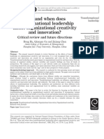 1 How and When Does Transformational Leadership Affect Organizational Creativity and Innovation