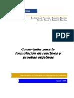 CURSO TALLER PARA LA FORMULACIÓN DE REACTIVOS Y PRUEBAS OBJETIVAS