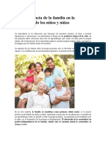 La Importancia de La Familia en La Autoestima de Los Niños y Niñas