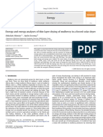 Energy and Exergy Analyses of Thin Layer Drying of Mulberry in a Forced Solar Dryer