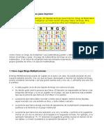 Instrucciones Bingo de Tablas