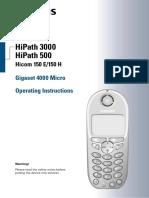 HiPath 3000 V1.2 Gigaset 4000 Micro Operating Instructions