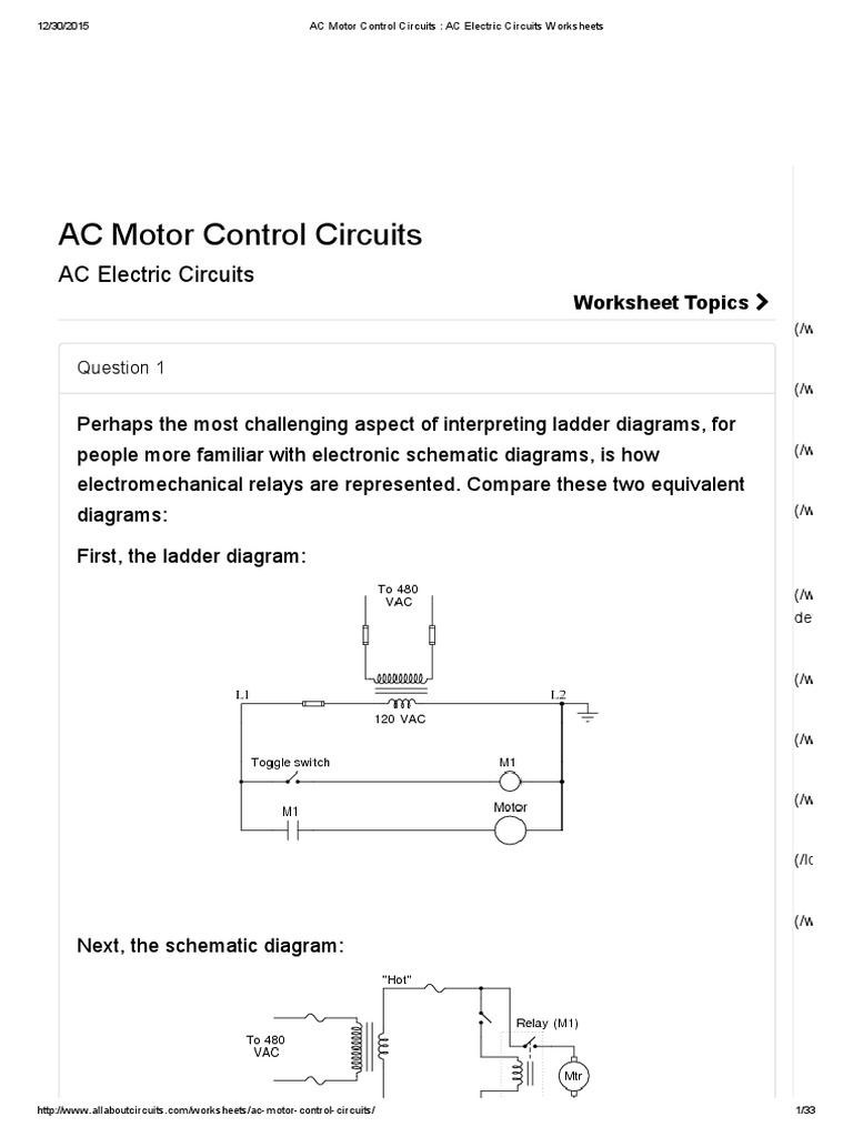 Ac Motor Control Circuits Electric Worksheets Switch Electrical Circuit Diagrams Relay