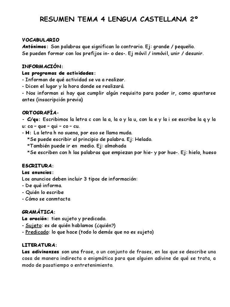 Resumen Tema 4 Lengua