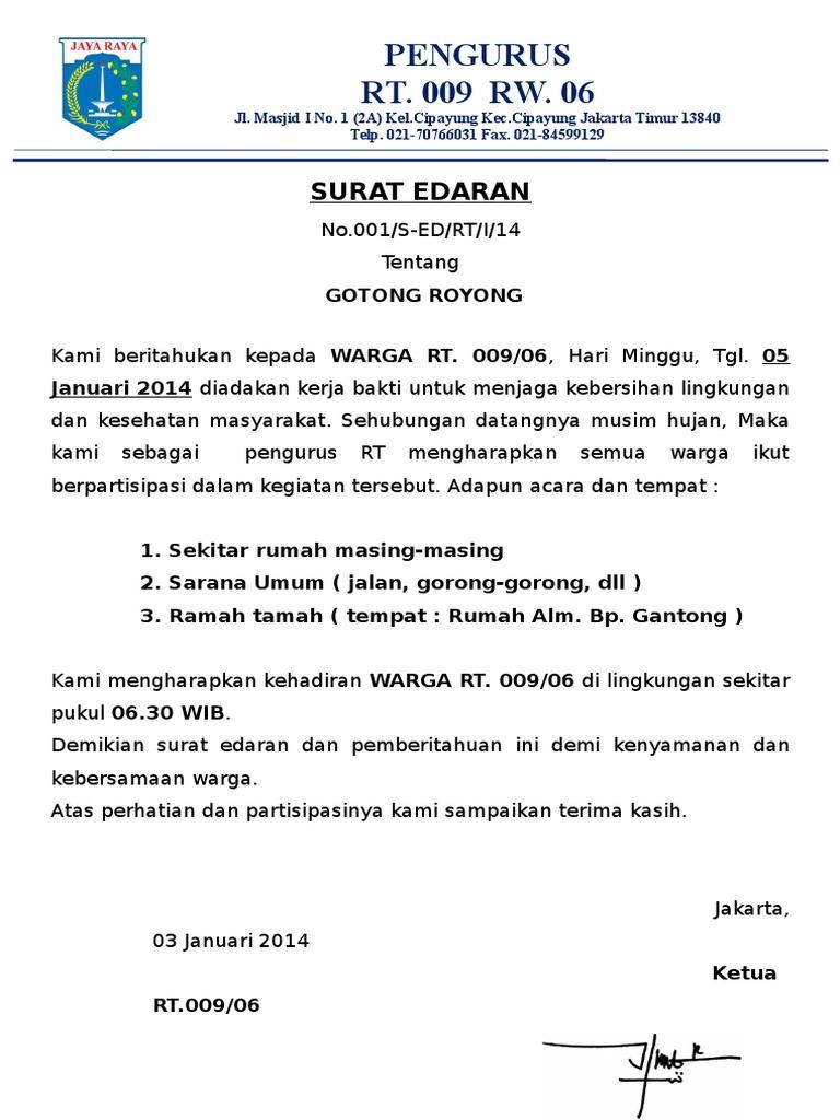 Contoh Surat Undangan Gotong Royong Rt - Berbagi Contoh Surat