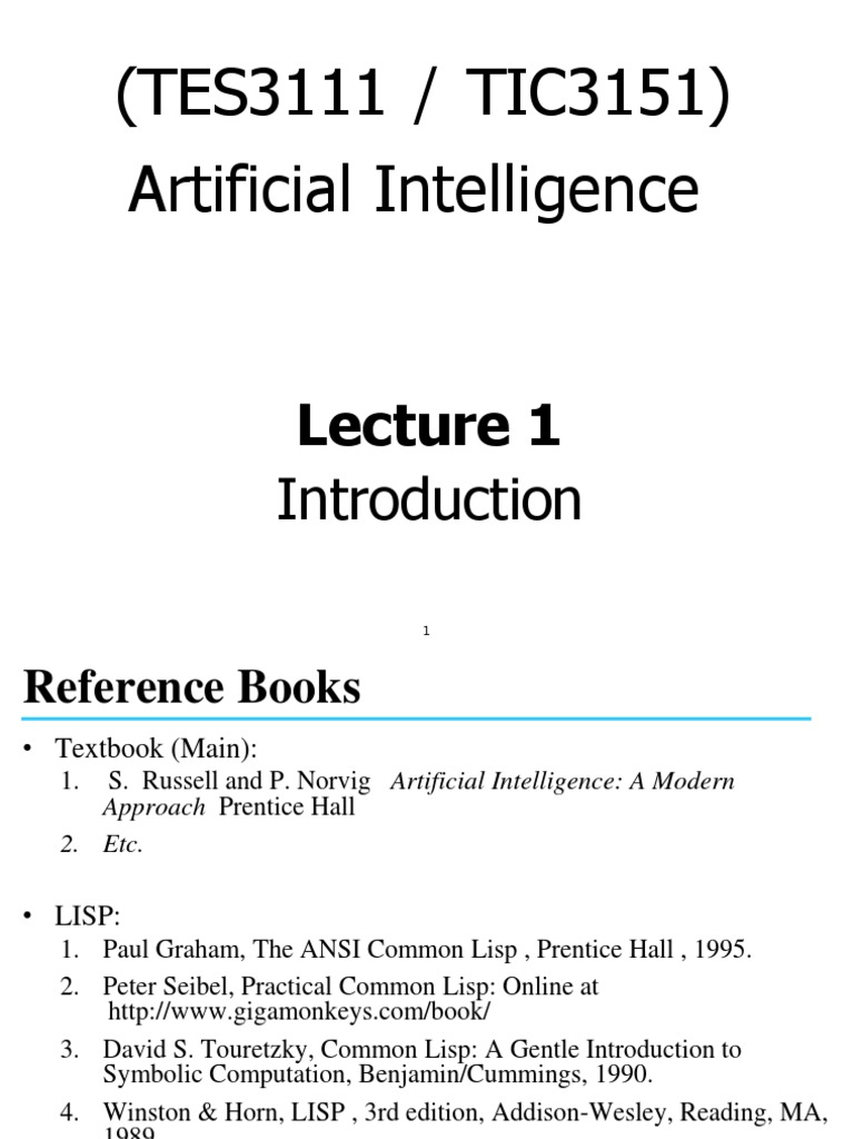 42283 Lec01 Technology Artificial Intelligence