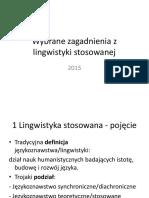 Wybrane Zagadnienia z Lingwistyki Stosowanej 2014