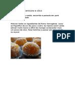 Bolinhas de Cenoura e Côco