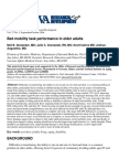 Bed Mobility Task Performance in Older Adults