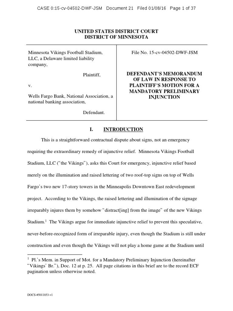 vikings vs wells fargo injunction contractual term