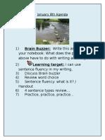 january 8 2016 agenda sentence fluency