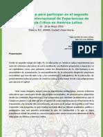 Convocatoria Encuentro Pedagogia Critica En América Latina 2016