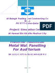 Technical submittal for metal tiles wall panelling