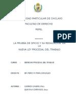 LA PRUEBA DE OFICIO Y SU REGULACIÓN  EN LA NUEVA LEY PROCESAL DEL TRABAJO