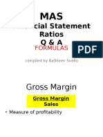Financial Statement Analysis Ratios and Formulas (Flashcards)