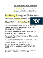 Marketing Strategy Project List