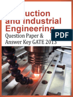 GATE 2013 Question Paper - Production and Industrial Engineering & Answer Key