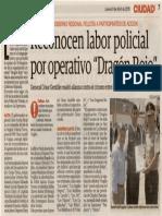"""09-04-15 Reconocen labor policial por operativo """"Dragón Rojo"""""""