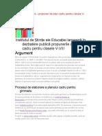 Propunerile de Plan-cadru Pentru Clasele v-VIII