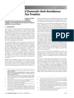Compatibility of Domestic Anti-Avoidance Measures With Tax Treaties