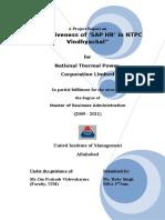 Effectiveness of SAP HR in NTPC Vindhyachal
