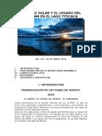 PROGRAMA E INSCRIPCIÓN PARA EL ENCUENTRO MUNDIAL EN EL LAGO TITICACA