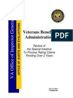 VBA Backlog Report by Inspector General