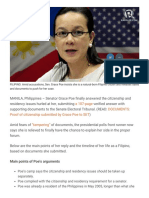 TIMELINE- Grace Poe's Citizenship, Residency