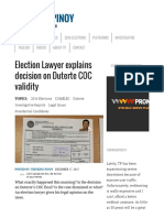 Election Lawyer Explains Decision on Duterte COC Validity - Thinking Pinoy