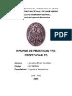 Informe de Prácticas Pre-profesionales - Ing. Mecatrónica UNI