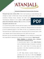 Integrated Marketing Communication Strategy of Patanjali