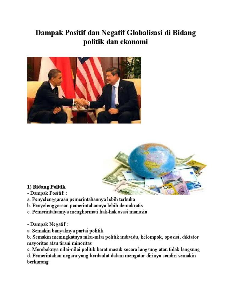 Sebutkan Dampak Positif Dan Negatif Dari Globalisasi ...