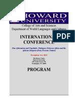 African Diaspora Conference Program at Howard University