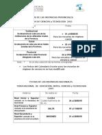 Calendario Provincial- Nacional -Fechas 2015