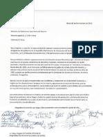 Carta al ministro relaciones exteriores de Austria