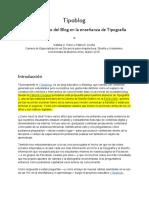 Tipoblog El uso didáctico del Blog en la enseñanza de Tipografía