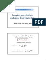 Atividade Iônica - Equações