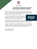 PLENO DEL JNE SESIONA PARA REVISAR CASOS SOBRE POSIBLES INFRACCIONES A NORMAS ELECTORALES