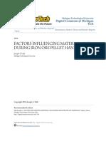 Factors Influencing Material Loss During Iron Ore Pellet Handling