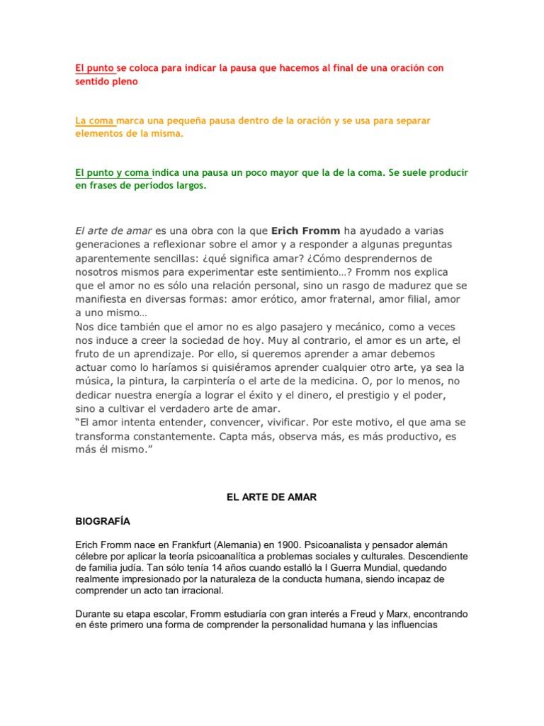 Resumen del arte de amar de erich fromm pdf