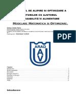 Modelare Matematica Si Optimizare - Serban Ovidiu