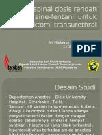 Anestesi Spinal Dosis Rendah Bupivacaine - Fentanil Untuk