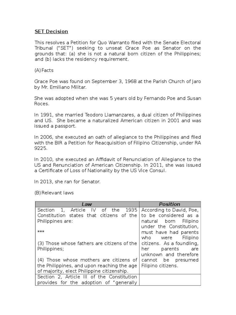 Set Decision Summary United States Nationality Law Nationality